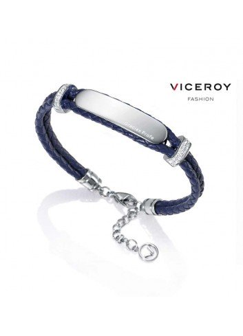 pulsera-mujer-gracias-profe-viceroy-doble-cuero-trenzado-azul