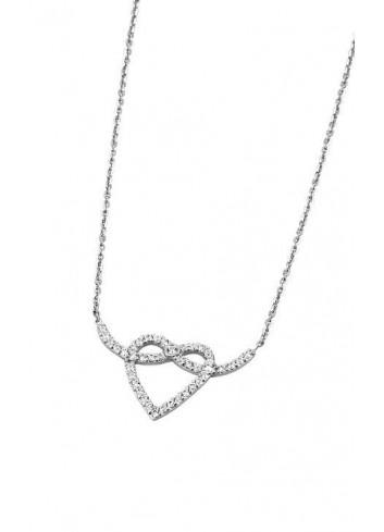 Gargantilla plata corazón circonitas con nudo Colección con amor Lotus Silver LP1283-1/1