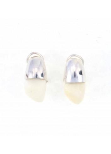 Pendientes diente ciervo omega plata