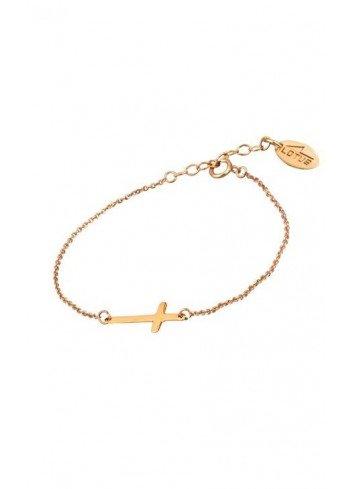 Pulsera cruz de plata chapada oro rosa Lotus Silver LP1223-2/3