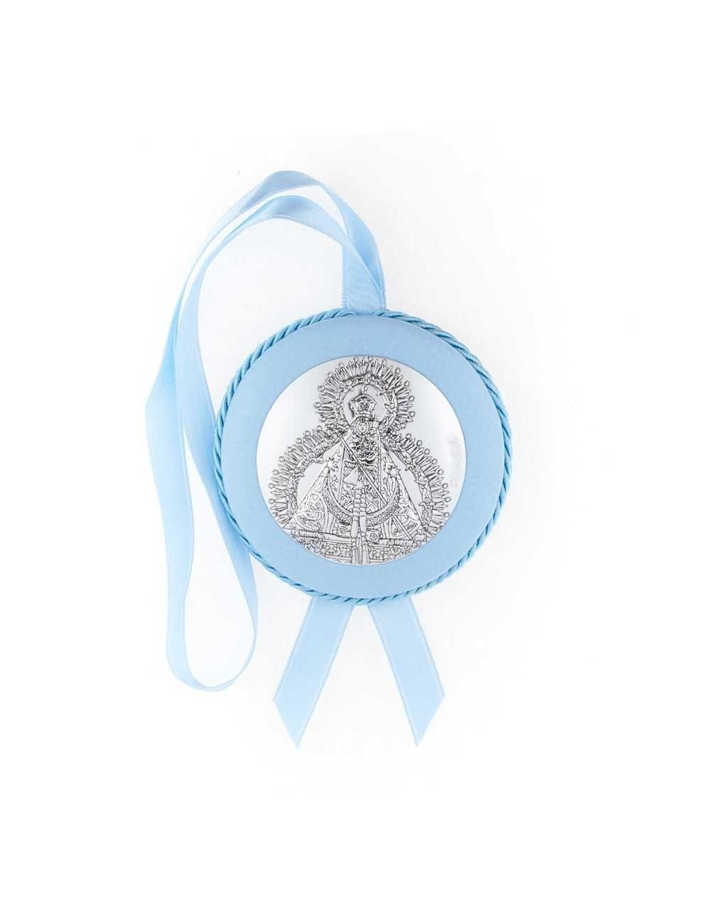 Medalla cuna Virgen de la Cabeza polipie azul musical