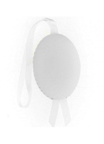 Medalla cuna Virgen de la Cabeza polipie oval blanco musical