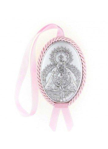 Medalla cuna Virgen de la Cabeza polipie oval rosa musical