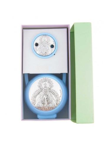 Pinza y porta chupete Virgen de la Cabeza azul