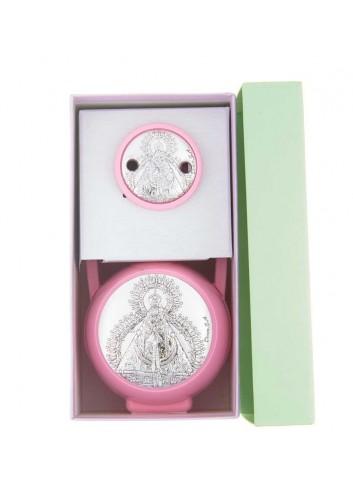 Pinza y porta chupete Virgen de la Cabeza rosa