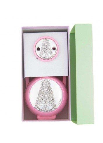 Pinza y porta chupete Virgen del Rocío rosa