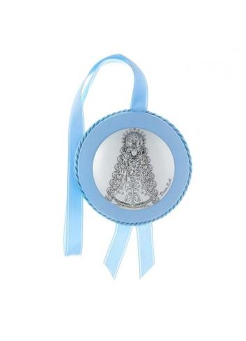 Medalla cuna Virgen del Rocío polipiel azul musical