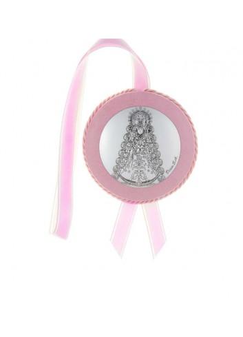Medalla cuna Virgen del Rocío polipiel rosa musical