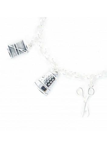 Pulsera modista costurera plata colgantes