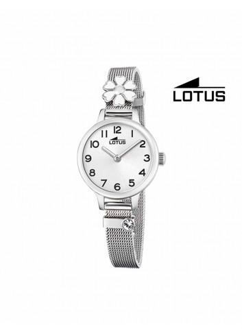 Reloj niña Lotus cadena malla flor blanca 18661-1