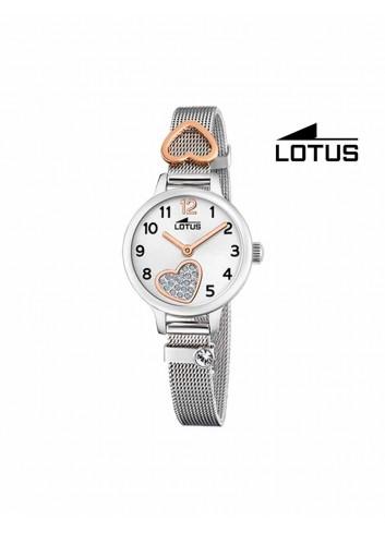 Reloj niña Lotus cadena malla corazon brillo 18659-1