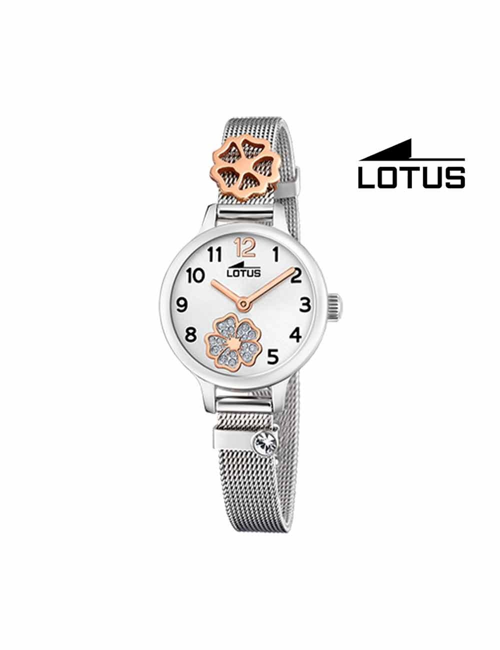 Reloj niña Lotus cadena malla flor brillo 18659-3