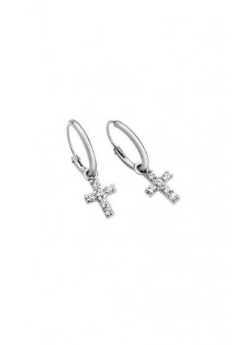 Pendientes plata aro con cruz de circonitas Lotus Silver LP1243-4/1