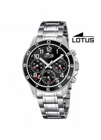 Reloj niño Lotus crono cadena esfera negra 18580-3 redondo