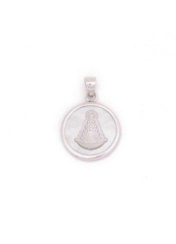 Medalla Virgen del Rocío redonda plata nácar