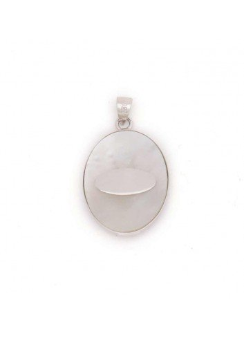 Medalla Virgen del Rocío oval plata nácar