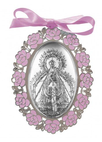 Medalla cuna Virgen Cabeza flores rosas