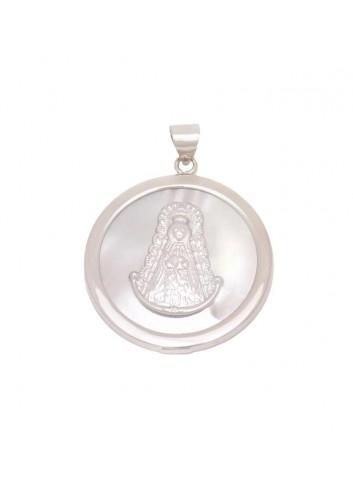 Medalla Virgen del Rocío redonda 30 mm plata nácar