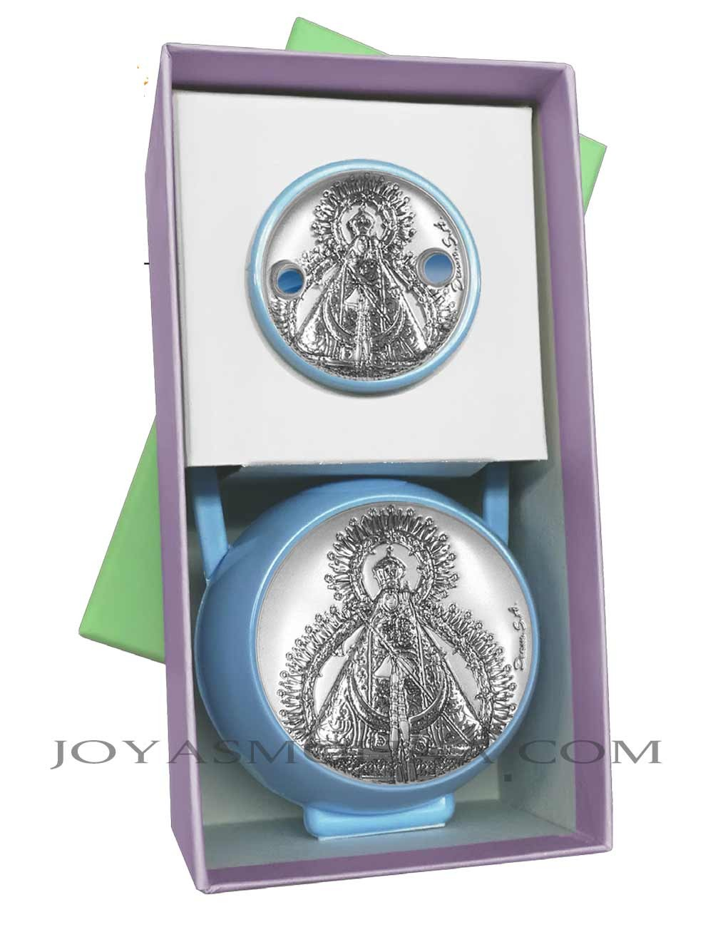 conjunto Pinza y porta chupete Virgen de la Cabeza azul