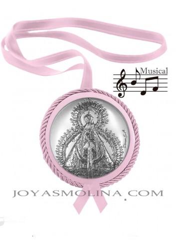 Medalla cuna Virgen de la Cabeza rosa