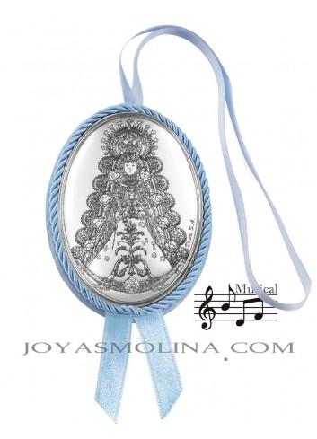 Medalla cuna Virgen del Rocío azul oval musical