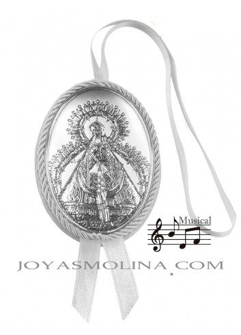 Medalla cuna Virgen de la Cabeza oval blanco musical
