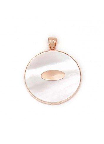 Medalla Virgen del Rocío redonda 30 mm plata chapada rosa nácar