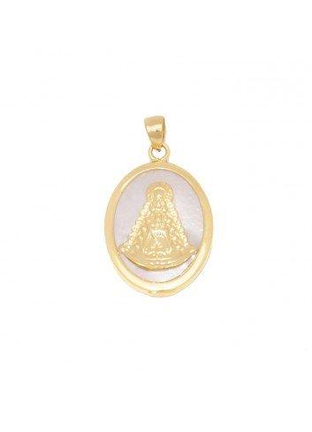 Medalla Virgen del Rocío oval plata chapada nácar