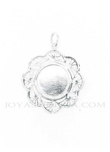 Medalla Virgen del Rocío plata ondas reverso
