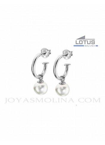 Pendientes Lotus Silver aro perla LP1883-4-1