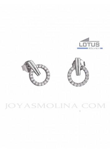 Pendientes circulo Lotus plata