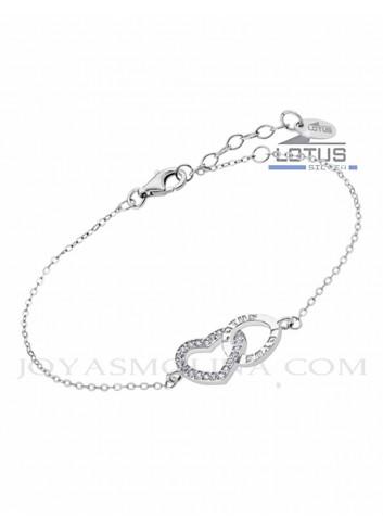 Pulsera Lotus Silver corazón circonitas y círculo LP1864-2-1