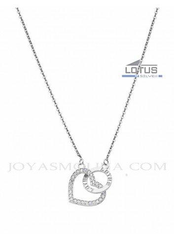 Gargantilla Lotus Silver corazón circonitas y círculo LP1864-1-1