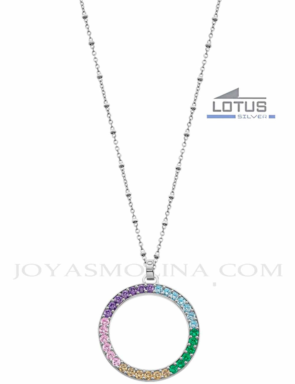 Gargantilla Lotus Silver círculo piedras colores LP1963-1-2