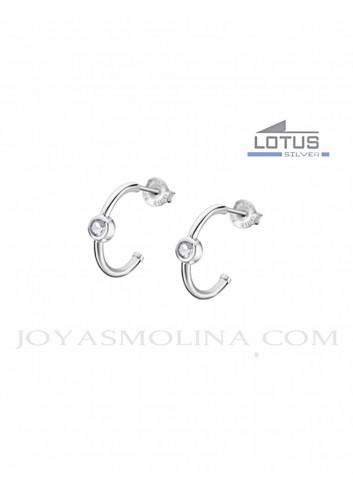 Pendientes Lotus Silver aros con circonita LP1884-4-1