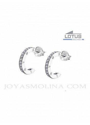 Pendientes Lotus Silver aros con circonitas LP1885-4-1