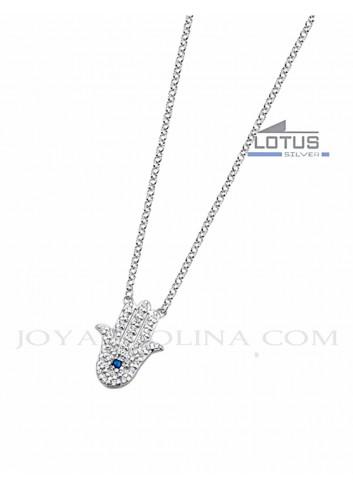 Gargantilla Lotus plata mano de Fatima