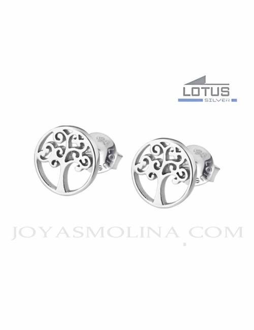 Pendientes Lotus plata arbol de la vida