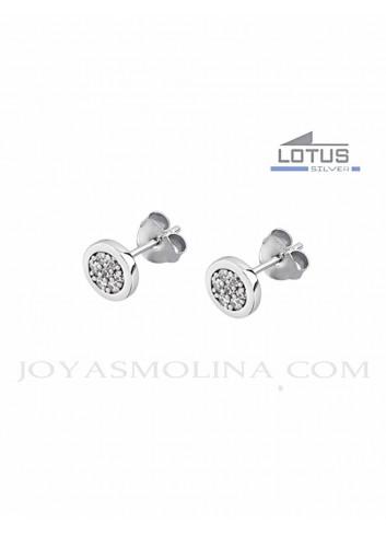 Pendientes Lotus Silver redondos circonitas