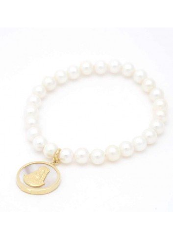 Pulsera Virgen del Rocío perlas medalla nácar plata chapada