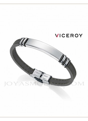 Pulsera Viceroy Fashion hombre caucho acero gris 6343P09019 personalizable