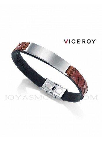 Pulsera Viceroy hombre piel marrón cuadros 75067P01011 personalizable