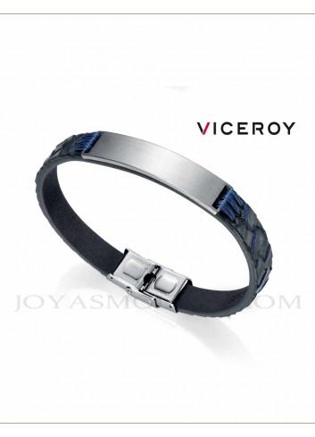 Pulsera Viceroy hombre piel azul cuadros 75067P01013 personalizable