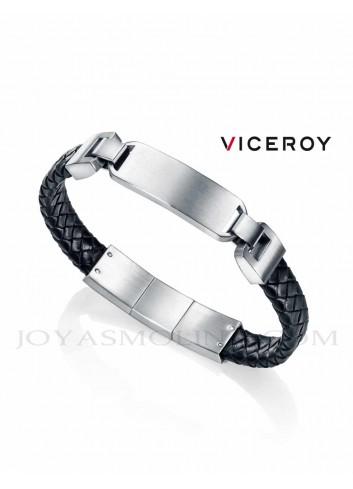 Pulsera Viceroy hombre acero piel trenzada negra 75063P01010 personalizable