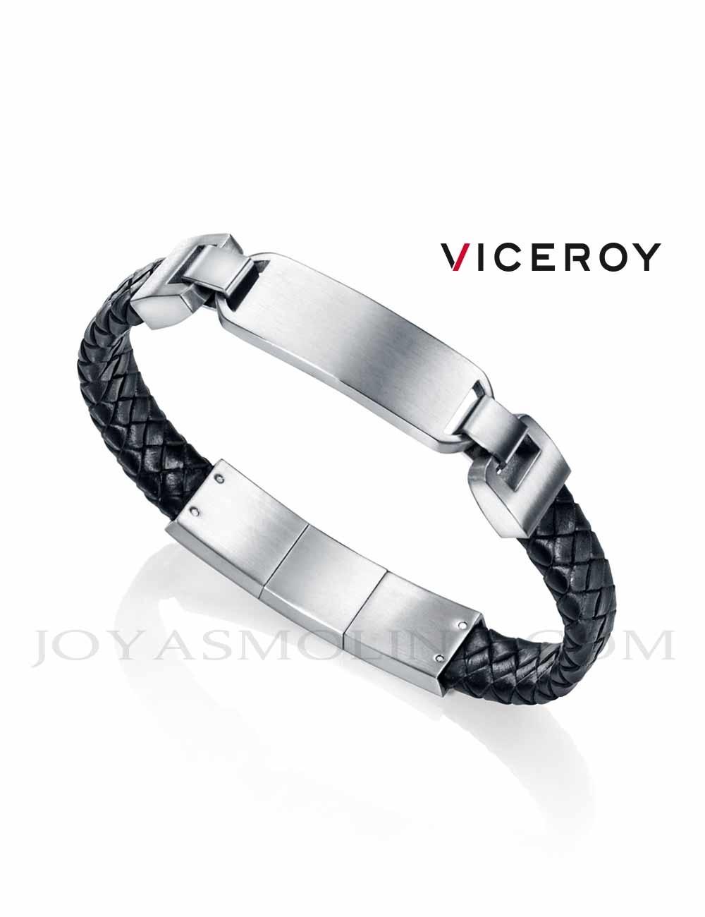 df45ca55f295 Pulsera Viceroy hombre acero piel trenzada negra 75063P01010 personalizable