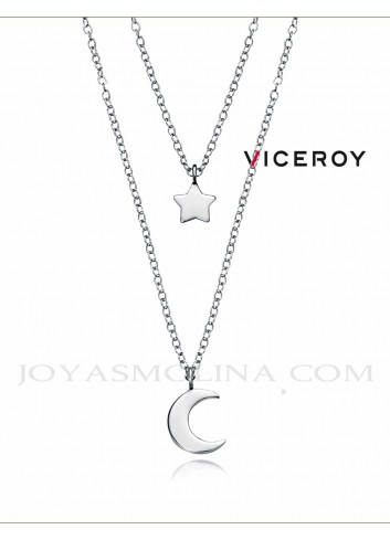 Gargantilla Viceroy plata doble estrella luna 5064C000-08