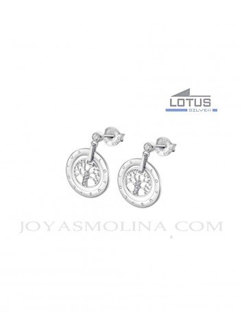 Pendientes Lotus Silver árbol de la vida círculo LP1870-4-1