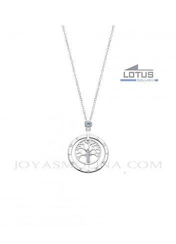 Gargantilla Lotus plata arbol de la vida circulo LP1870-1-1