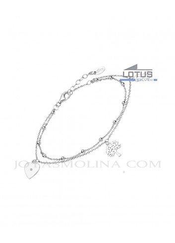 Pulsera doble Lotus plata corazon, arbol y infinito LP1931-2-2
