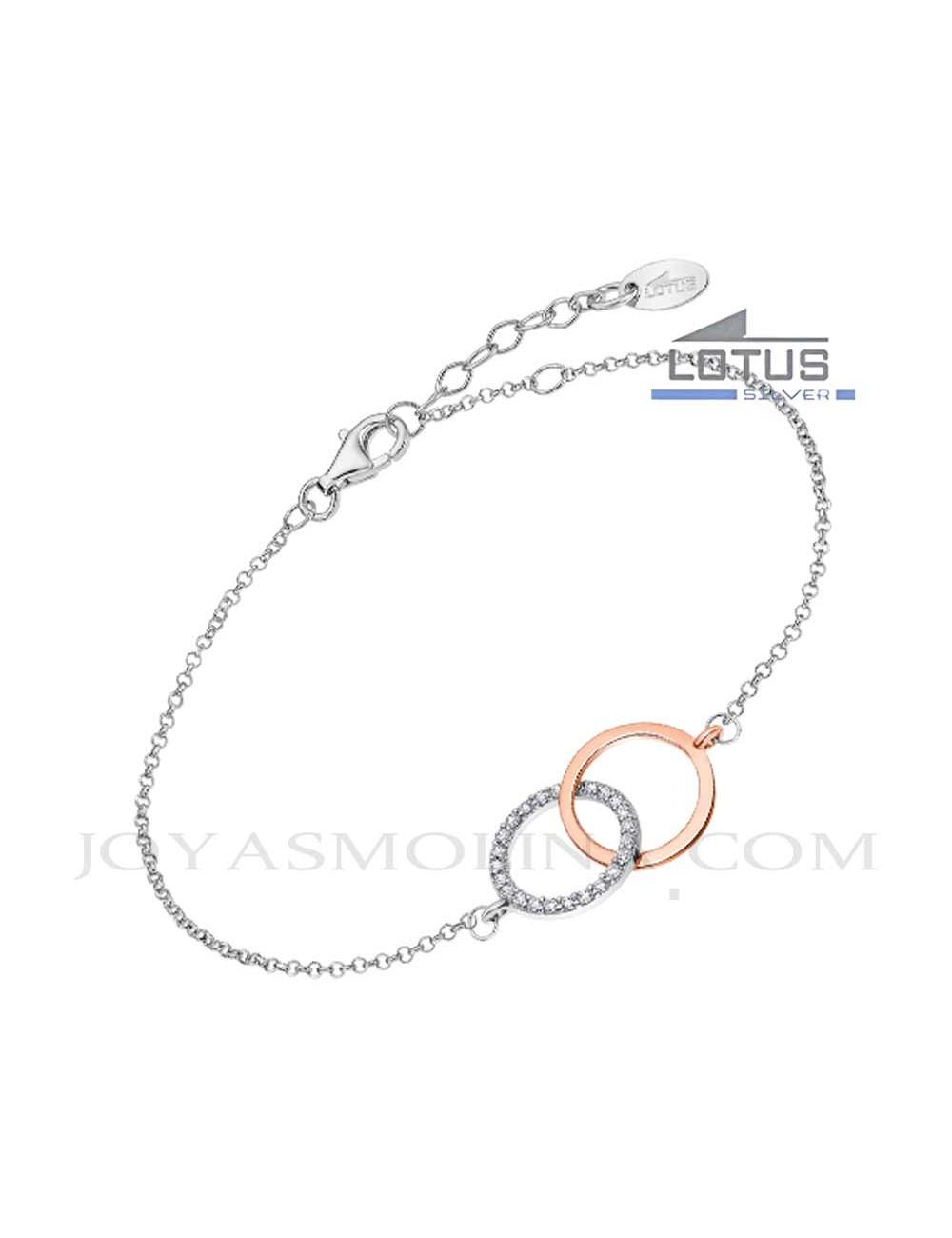 Pulsera Lotus plata doble circulo circonitas dorado rosa LP1955-2-1